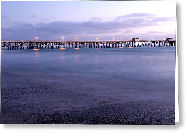 Village By The Sea Greeting Cards - Lights on the Pier Greeting Card by Richard Cheski