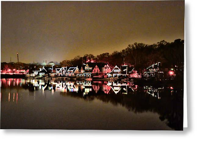 Rowing Crew Greeting Cards - Lights on the Schuylkill River Greeting Card by Bill Cannon