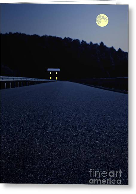 Roadway Photographs Greeting Cards - Lights on up ahead Greeting Card by Edward Fielding