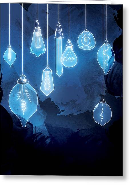 Bulb Greeting Cards - Lights Greeting Card by Randoms Print
