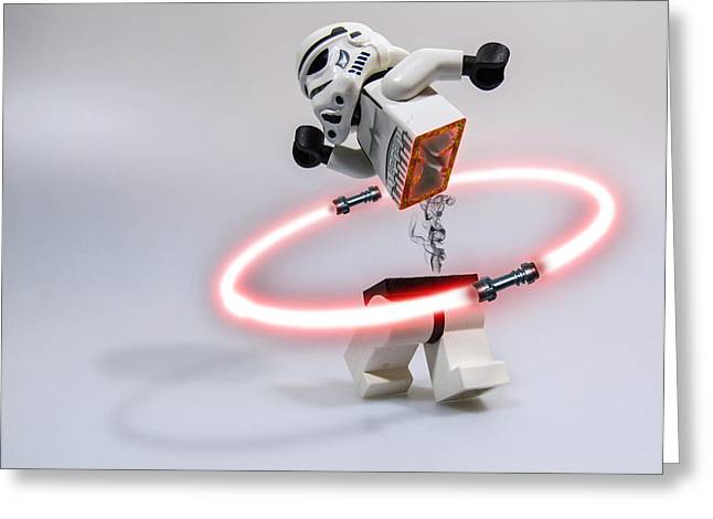 Lego Greeting Cards - Lightsaber Hula Oops Greeting Card by Randy Turnbow