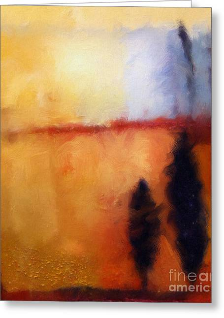 Sunset Abstract Greeting Cards - Lightscape digital Greeting Card by Lutz Baar