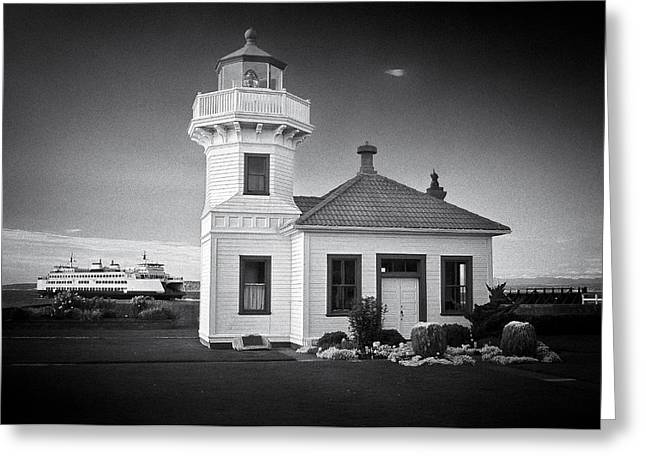U.s. Coast Guard Greeting Cards - Lightstation Mukilteo BW Greeting Card by Patrick M Lynch