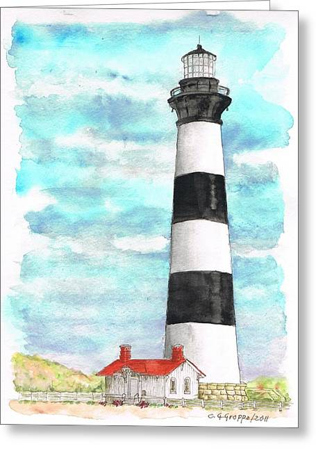 Acuarelas Greeting Cards - Ligthhouse Bodie Island NC Greeting Card by Carlos G Groppa