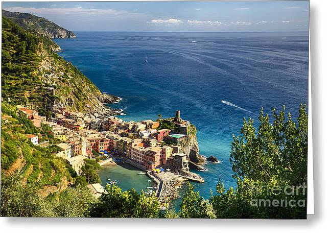 Union Terrace Greeting Cards - Ligurian Coast View at Vernazza Greeting Card by George Oze