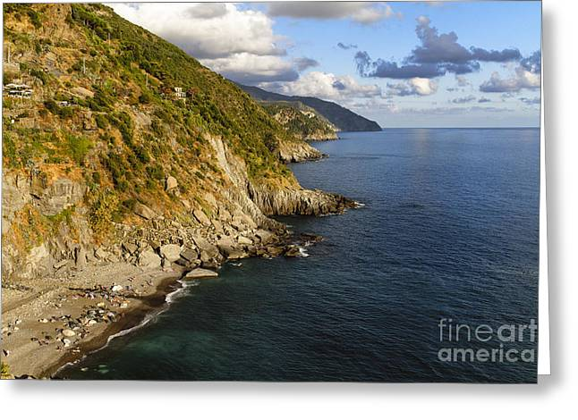 Beach Activities Greeting Cards - Ligurian Coastline at Vernazza Greeting Card by George Oze