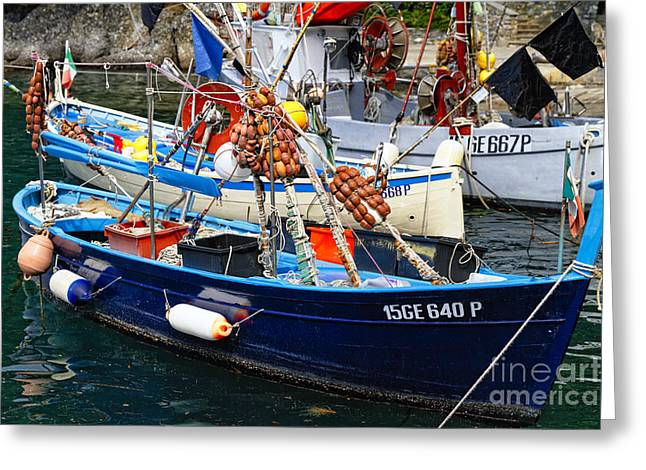 Portofino Italy Greeting Cards - Ligurian Fishing Boats Up Close Greeting Card by George Oze
