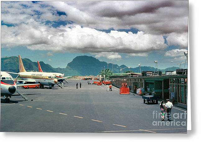 Fixed Wing Multi Engine Greeting Cards - Lihue Airport with Cumulus Clouds in Kauai Hawaii  Greeting Card by Wernher Krutein