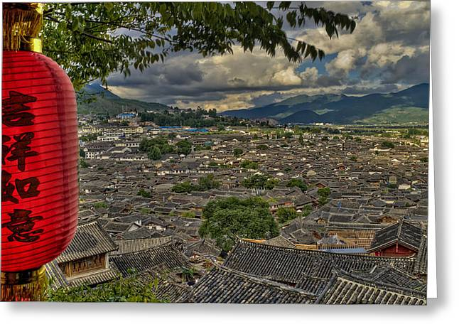 Chinese Minority Greeting Cards - LIjiang old town Greeting Card by James Wheeler