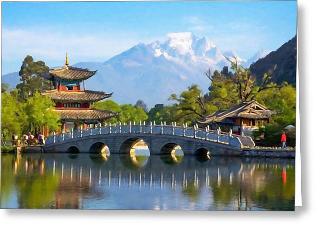 Lijiang Old Town Scene-black Dragon Pool Park Greeting Card by Lanjee Chee