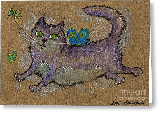 Cat Drawings Greeting Cards - Like A Butterfly Greeting Card by Angel  Tarantella
