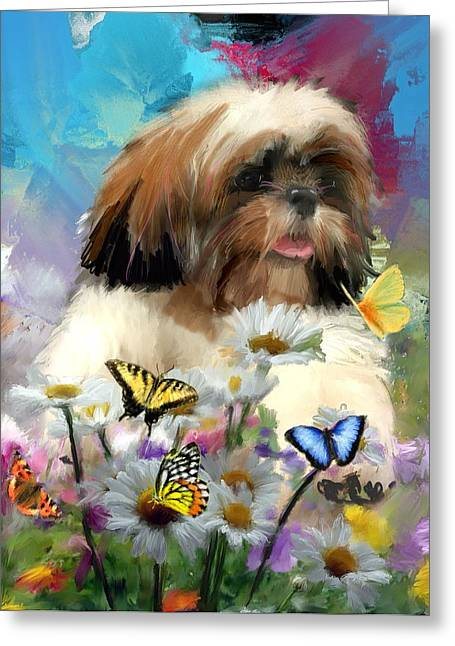 Dogs Digital Greeting Cards - Like a butterfly Greeting Card by Richard Okun