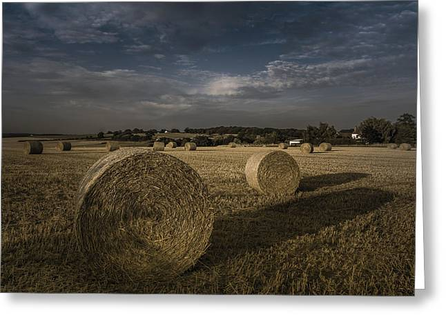 Hay Bales Photographs Greeting Cards - Like a moonlight shadow Greeting Card by Chris Fletcher