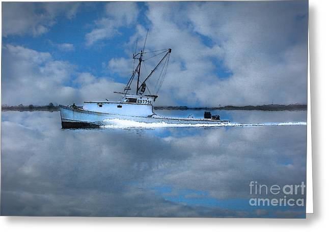 Boats In Reflecting Water Greeting Cards - Like a Painted Ship On a Painted Ocean Greeting Card by  Gene  Bleile Photography