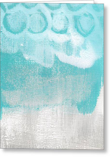 Blue-gray Greeting Cards - Like A Prayer- Abstract Painting Greeting Card by Linda Woods