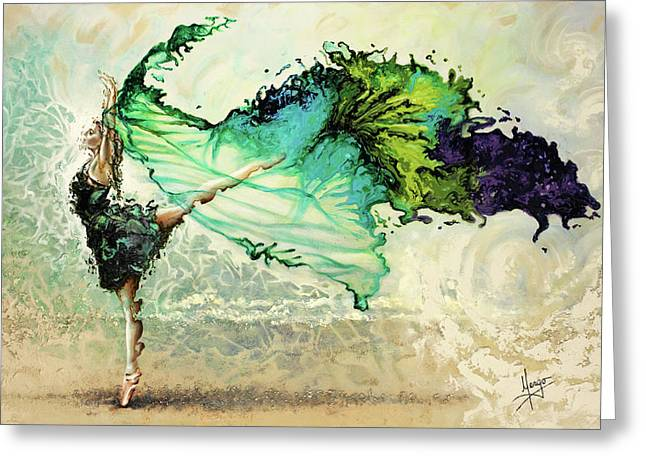 Ballet Dancers Paintings Greeting Cards - Like air I will raise Greeting Card by Karina Llergo Salto