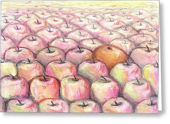 Sour Pastels Greeting Cards - Like Apples and Oranges Greeting Card by Shana Rowe