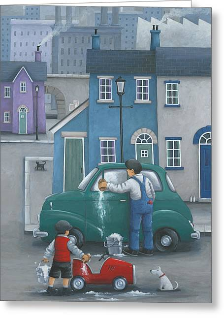 Coloured Greeting Cards - Like Father... Greeting Card by Peter Adderley