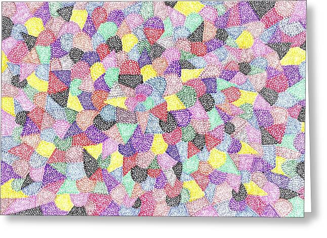 Geometric Image Drawings Greeting Cards - Like No 73 Greeting Card by J A   Art Gallery