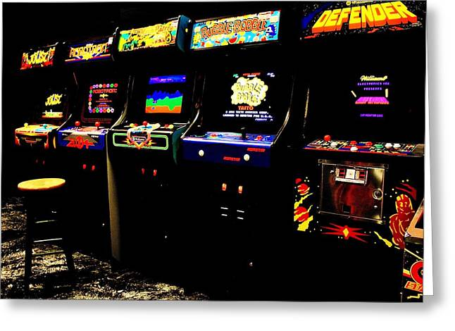 80s Greeting Cards - Like Totally Awesome Arcade Greeting Card by Benjamin Yeager
