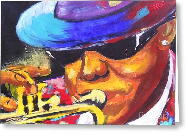 Lil Bennie On Trumpet Greeting Card by Jonathan Tyson