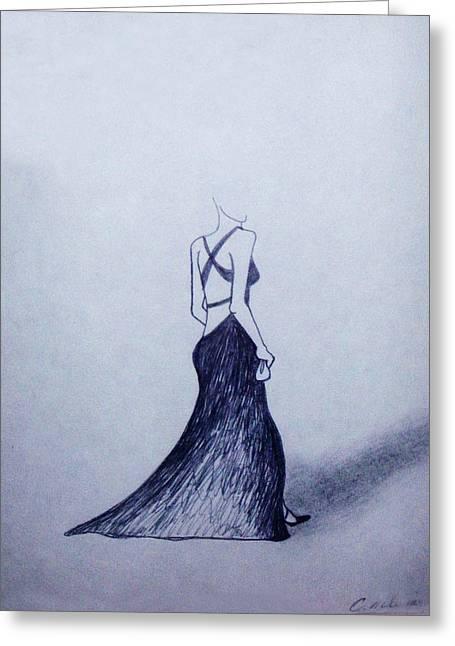 Lil' Black Dress Greeting Card by Cynthia Hilliard