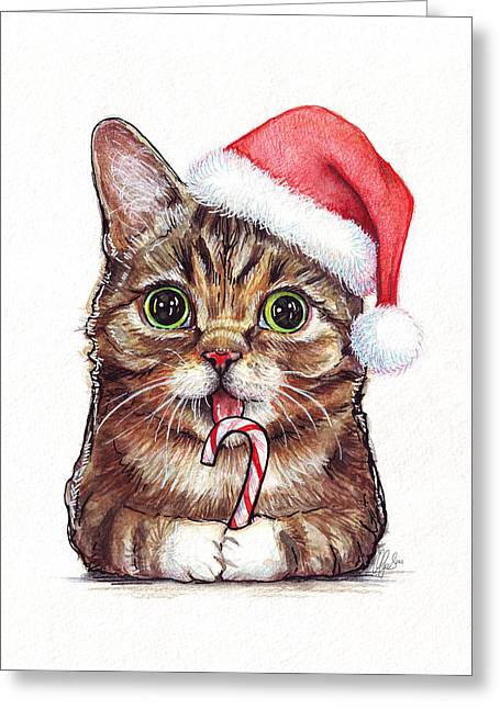 Pets Mixed Media Greeting Cards - Lil Bub Cat in Santa Hat Greeting Card by Olga Shvartsur