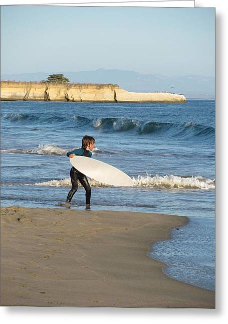Santa Cruz Surfing Greeting Cards - Lil Grom Greeting Card by Deana Glenz