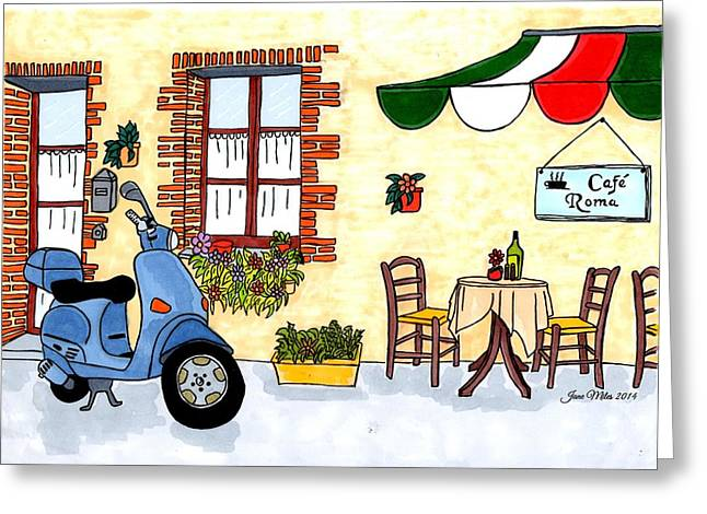 Table Wine Drawings Greeting Cards - Lil Italian Cafe Greeting Card by Jane Miles