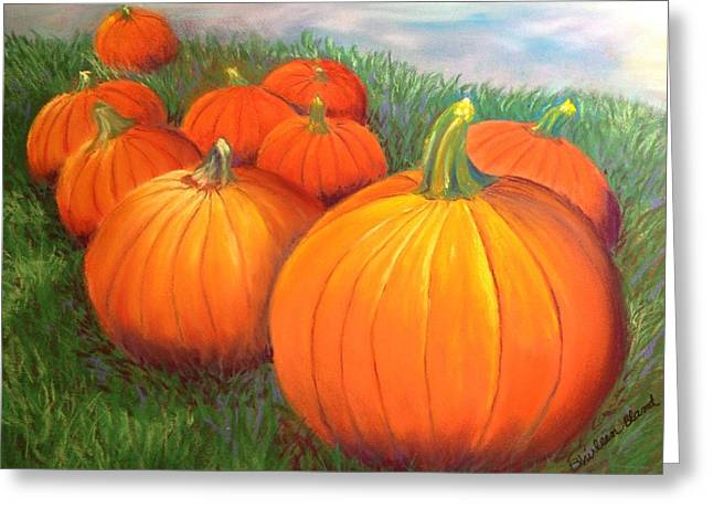 Pumpkins Pastels Greeting Cards - Lil Punkins Greeting Card by Shirleen Bland