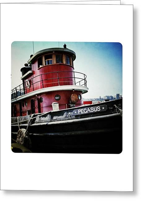 Hudson River Tugboat Greeting Cards - Lil Red Tugboat Greeting Card by Natasha Marco