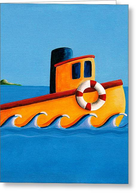 Baby Blue Greeting Cards - Lil Tugboat Greeting Card by Cindy Thornton