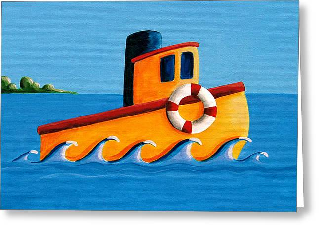 Simple Paintings Greeting Cards - Lil Tugboat Greeting Card by Cindy Thornton