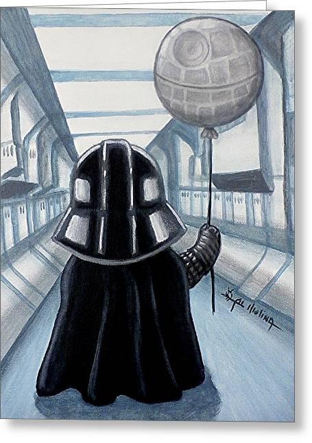 Star Death Greeting Cards - Lil Vader Dreams Big Greeting Card by Al  Molina