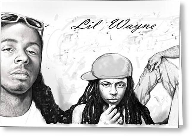 Labelled Greeting Cards - Lil Wayne art long drawing sketch poster Greeting Card by Kim Wang