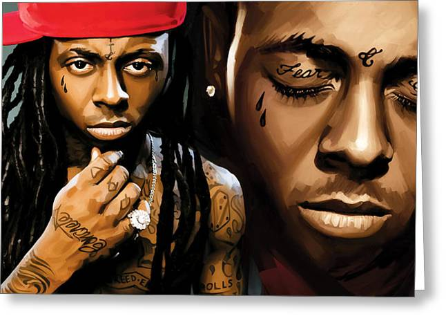 Musicians Mixed Media Greeting Cards - Lil Wayne Artwork Greeting Card by Sheraz A