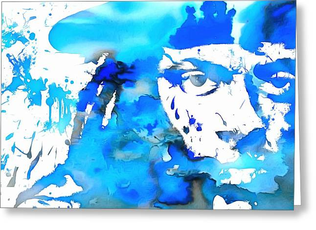 Rolling Stones Greeting Cards - Lil Wayne Blue Paint Splatter Greeting Card by Dan Sproul