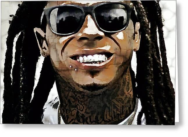 Lil Wayne Sunglasses Greeting Cards - Lil Wayne Smiles Greeting Card by Daniel Hagerman