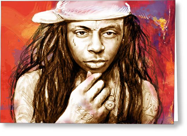 Labelled Mixed Media Greeting Cards - Lil Wayne - stylised drawing art poster Greeting Card by Kim Wang