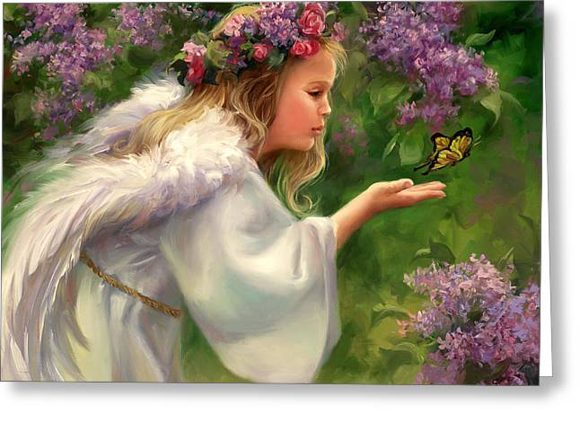 Wreath Greeting Cards - Lilac Angel Greeting Card by Laurie Hein