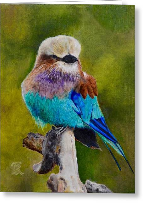 Faa Featured Paintings Greeting Cards - Lilac Breasted Roller Bird Greeting Card by Ralph Taeger
