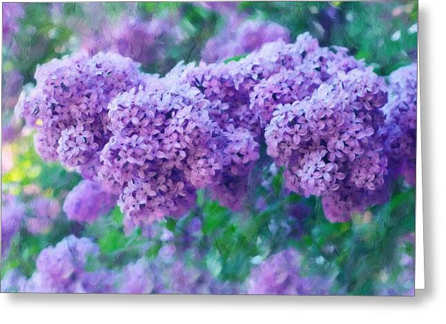 Vibrant Green Mixed Media Greeting Cards - Lilac Cadenza Greeting Card by Georgiana Romanovna