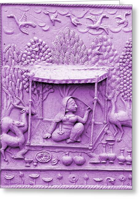 Royal Art Greeting Cards - Lilac Fresco Queen Palanquin 2 Udaipur Rajasthan India Greeting Card by Sue Jacobi