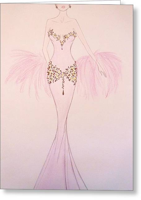Evening Dress Drawings Greeting Cards - Lilac Lady Greeting Card by Christine Corretti