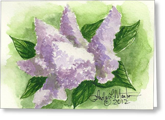 Llmartin Greeting Cards - Lilac Greeting Card by Linda L Martin