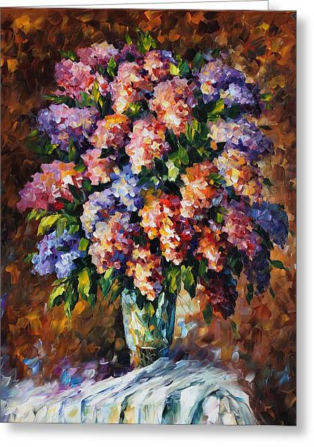Famous Artist Greeting Cards - Lilac - Palette Knife Oil Painting On Canvas By Leonid Afremov Greeting Card by Leonid Afremov