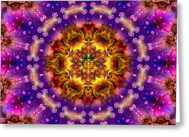 Fractal Spiritual Framed Prints Greeting Cards - Lilac Sacred G Mandala Greeting Card by Richard Copeland