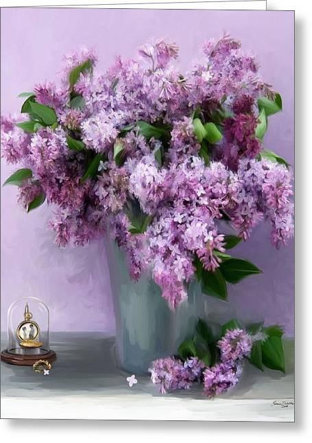 Lilac Spring Greeting Card by Yvonne Della-Moretta