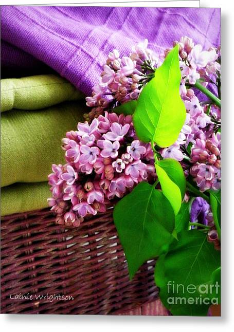 Lainie Wrightson Greeting Cards - Lilac Still Life Greeting Card by Lainie Wrightson