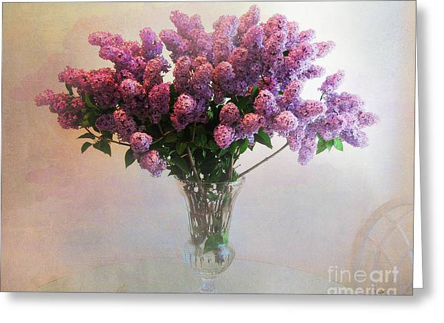 Enhanced Greeting Cards - Lilac Vase On Table Greeting Card by Bedros Awak